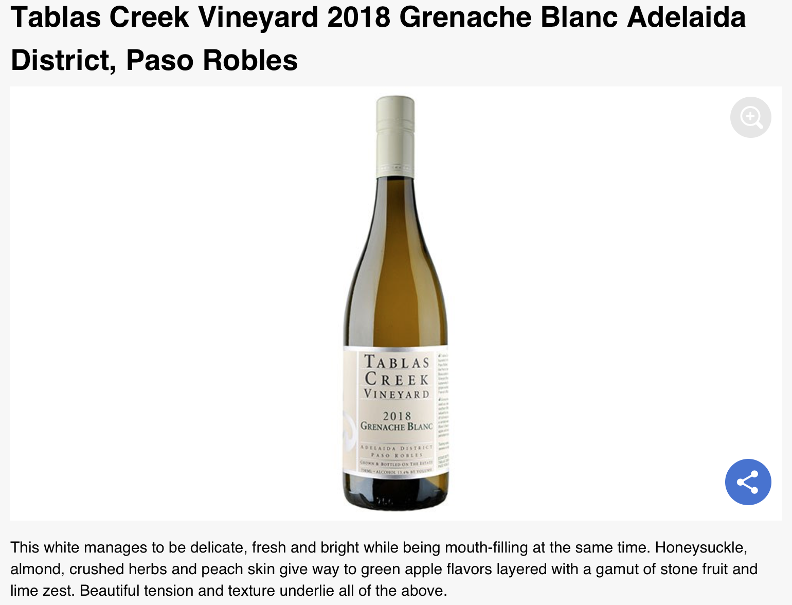 Robb Report Thanksgiving Recommendation Grenache Blanc