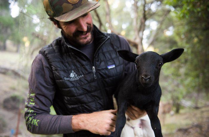 Shepherd Nathan Stuart Holding A Lamb