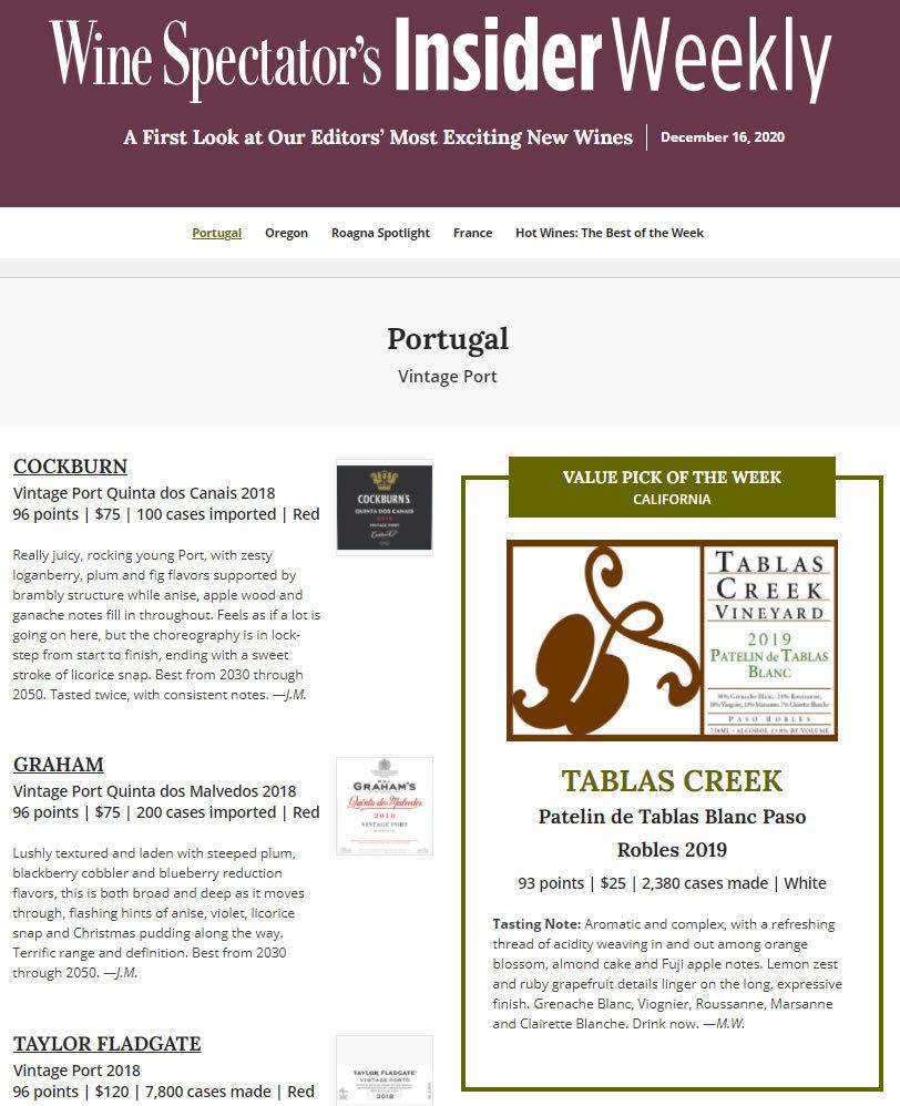 Wine Spectator 93 Patelin Blanc 2019 Value Of The Week