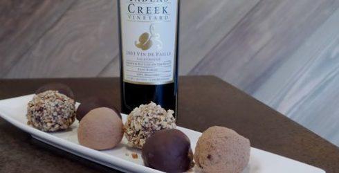 Truffles and dessert wine bottle